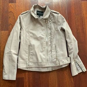 Forever 21 + leather jacket 1x taupe dual zipper